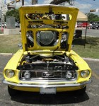 Yellow Mustang at HCAC Car Show displaying engine - Guess the Battery's Dead ~:0)