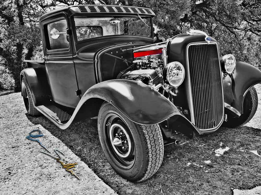 Pickup in Black & White 34 Ford Rat Rod