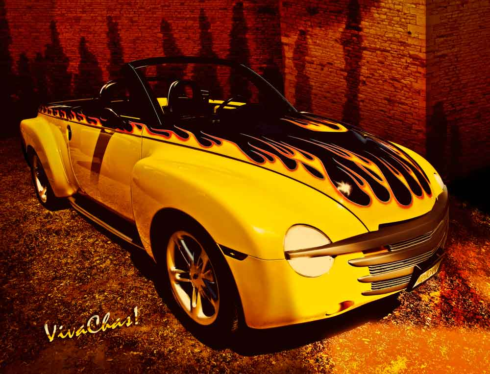 Chevy SSR Convertible Pickup with Old School Flames