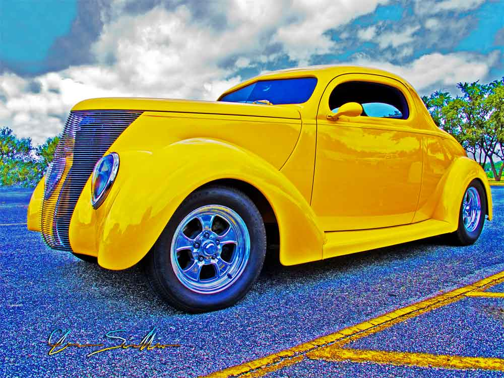 Ford Coupe Yellow Street Rod