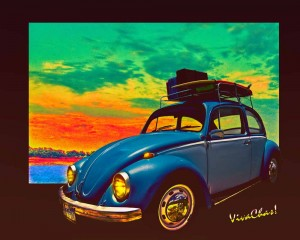 VW Surf Rod on a hill overlooking the cove where the camping is groovy!