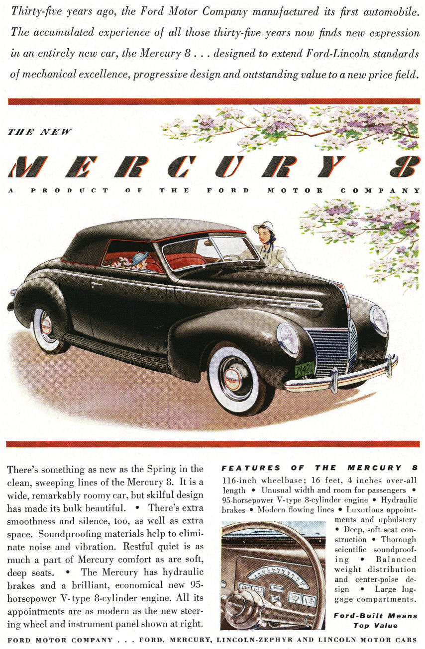 39 Mercury Eight Ad from Old Car Advertising ~:0)