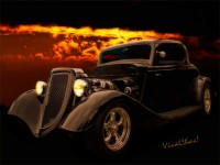 34 Ford Coupe is Back in Black from a Night of Cruise ~:0)