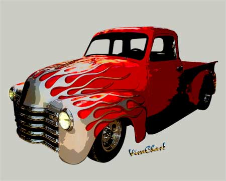 Gallery of Cars - Flaming 50s Chevy Pickup
