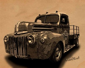 Rat Rod Flatbed 46 Ford Cross-Hatch Drawing Print from VivaChas!