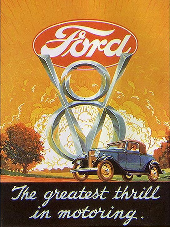 Ford V-8 Ad from the Thirties - Courtesy Old Car Advertising ~:0)