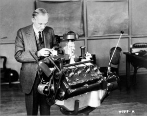 Henry Ford and his Flathead V-8 pix credit Ford via Newsday ~:0)