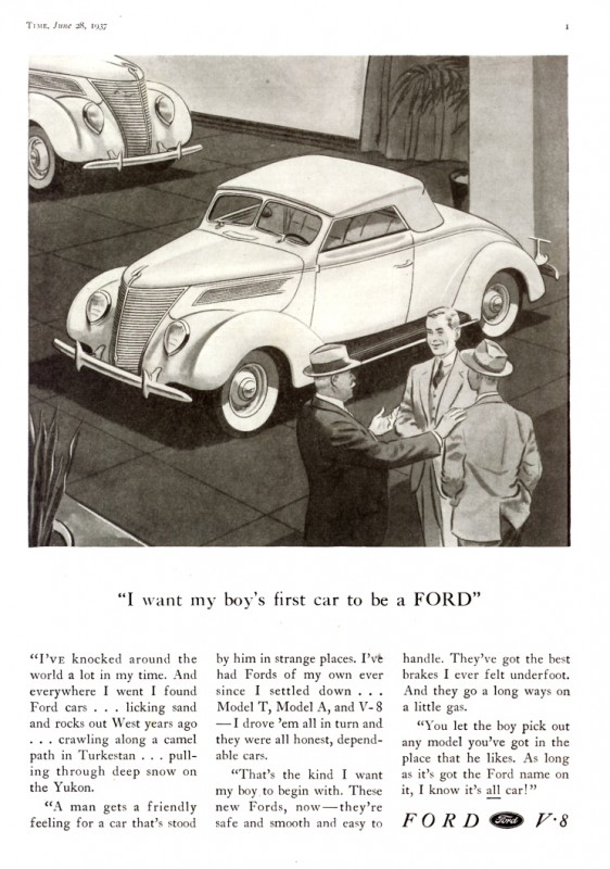 1937 Ford Roadster Ad from Old Car Advertising - the photo is a Link to their site