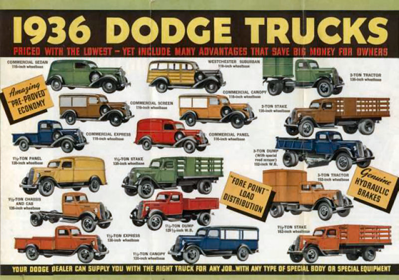 36 Dodge Pickup Truck and all the Brothers and Sisters - ad courtesy Old Car Advertising