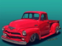 54 Chevy Pickup Get Down Outta Town Onna Ground LowRider ~:0) VivaChas!