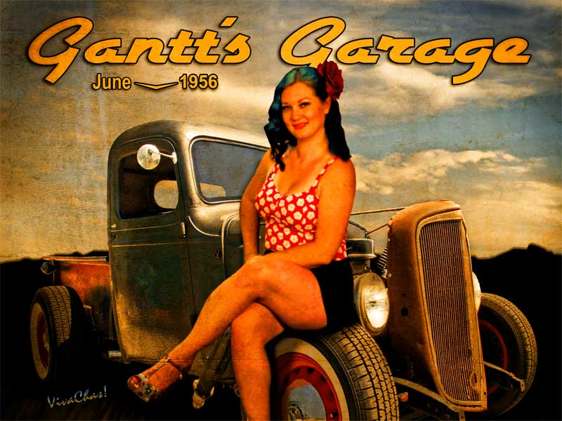 1956 Pinup Calendar page from VivaChas Hot Rod Art! - click to shop
