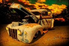 Rat Rod Ford Truck Sunset Blanco River print from VivaChas Hot Rod Art!
