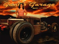 Rat Rod Rider at Gantt's Garage print from VivaChas Hot Rod Art!