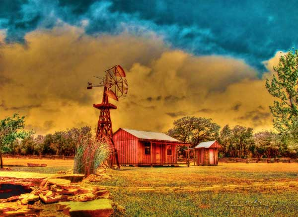 Texana Art from VivaChas - Cabin on a Windy Hilltop - Click the Pix to Shop ~:0)