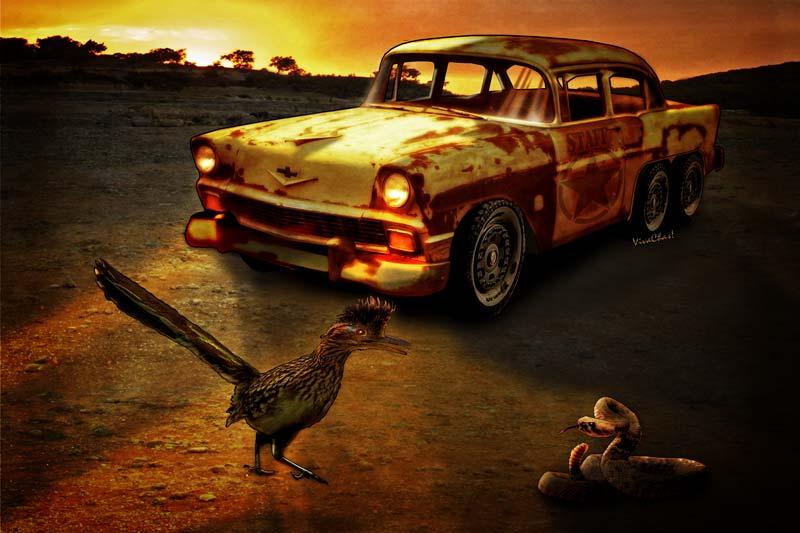 Hot Rod T Shirts >> Roadrunner The Snake & The 56 Chevy Rat Rod - VivaChas Hot ...