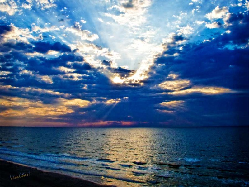 Sunrise from the shore of an island in the Gulf of Mexico ~ Copyrighted work from VivaChas! ~ Click Pix to Shop for a print on canvas!