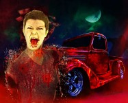 Halloween 2014 at the VivaChas Clubhouse is the Scariest Hot Rod Art Ever Made! - Click the Pix to Shop 4 a Print ~;0)