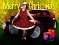 Miz Santa's Hot Rod Christmas Greeting Card from VivaChas Hot Rod Art - Click Pix to Shop!
