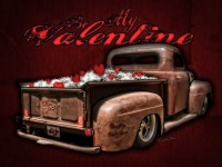 Be My Valentine on the Rat Rod of Love is Copyrighted Art from VivaChas! - Click The Pix to Buy a Print or Valentine's Card! ~;0)