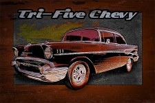 1957 Tri-Five Chevy in a Grunge Poster Style Wants Ur Wall to Ride On! ~;0) VivaChas Hot Rod Art! - Click Pix to Buy!