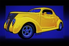 Yellow Ford Coupe 1937 Magic done in Poster Style - Click Pix to Buy