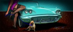 Easy Rollo Mommy's in Trouble - 58 T-Bird Pinup from VivaChas - addresses adding friends to Ur ThunderBird Sky