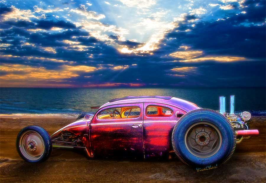 Hot Rod T Shirts >> Vw Surf Monster At The Shore VivaChas Hot Rod Art and Gifts