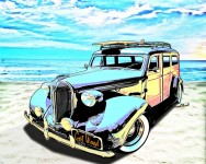 Plymouth Woody by the Sea of an Early Morning by VivaChas Hot Rod Art! Click Pix to Buy a Print!