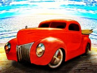 Surfin Forty Ford Pickup is art available from VivaChas Hot Rod Art and Gifts - Click Pix to Shop!