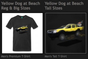 VivaChas Beach Adventure Tee Shirt with Juni at the Wheel of the Flying Yellow Dog! Click Pix to Shop!