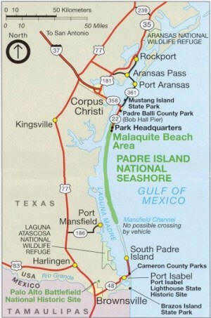 Map of North Padre Island Four Wheel Drive Trail from E Helpful Tips!!