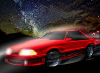 90 Ford Mustang 3rd Generation GT 5.0 and the The Midnight Chase - Click the pix or the text link to shop for products with this print