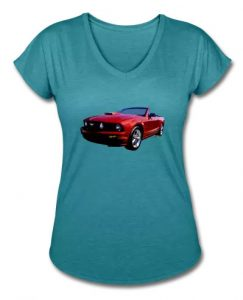 5th Generation Mustang Convertible Lady's V-Neck - Click this pix to shop for your Tees!