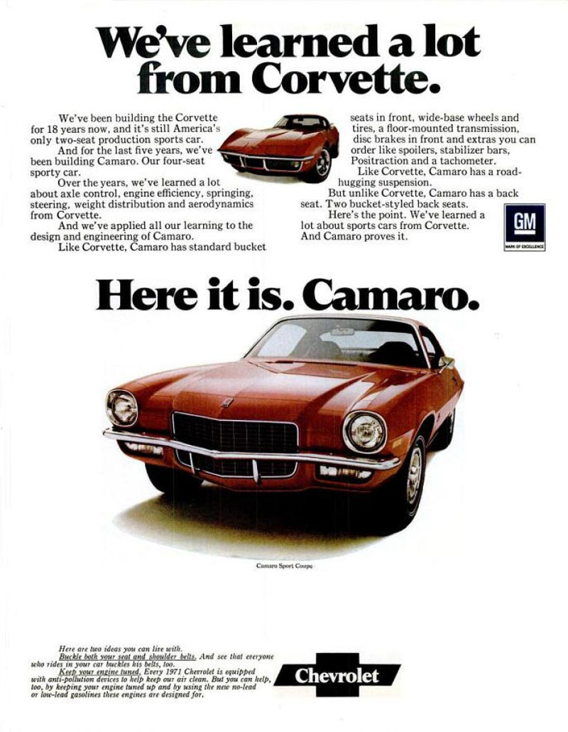 71 2nd Generation Camaro Print Ad from the good folks at Old Car Advertising