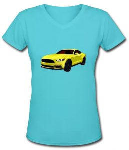 2014 Mustang hot car art on the Lady's V-Neck from VivaChas! - Click Pix to Shop for it!