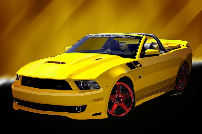 2014 Saleen Mustang Convertible s351 hot car art prints from VivaChas - Click Pix or Text Link to buy automotive art prints