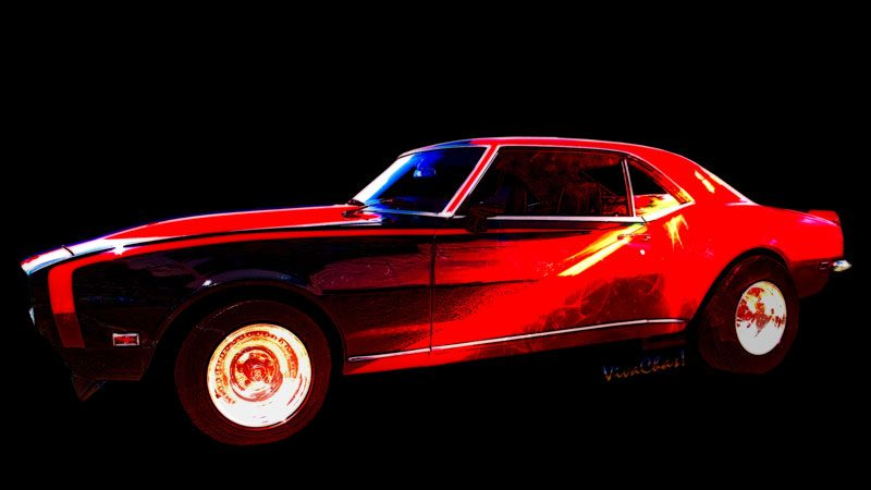 First Generation Camaro SS in Black and Red from 1969 with special HDR finishing - Click this pix to shop for this automotive art print on products!