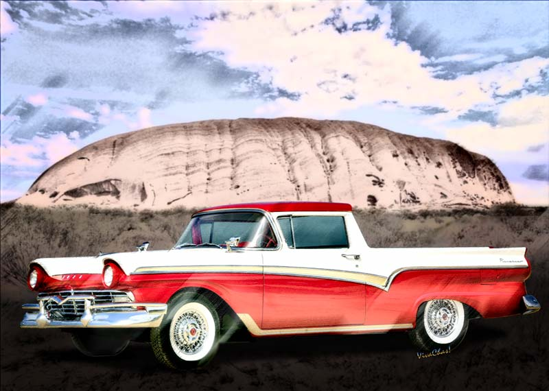Ford Ranchero 1st Generation began with the 1957 Ranchero! - Click the Big Pix or text link to shop for a picture of this 57 on something you like!