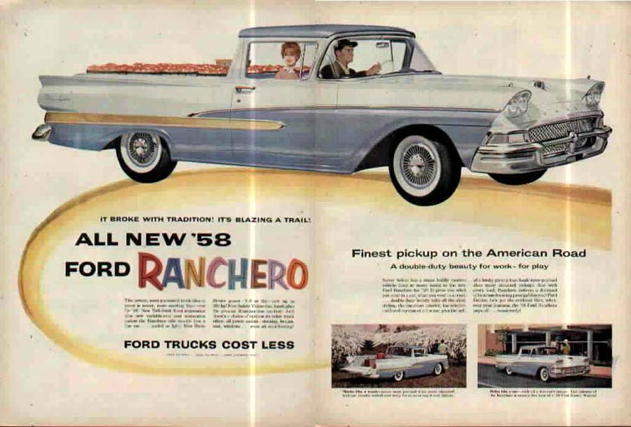 Ford Ranchero 1st Generation 1958 Ad from the good folks at Old Car Advertising