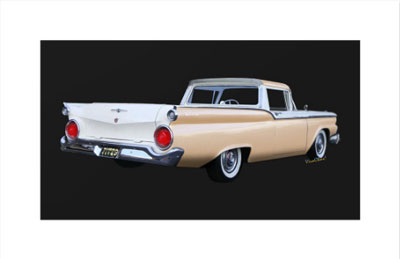 1959 Ford Ranchero 1st Generation - Get this clean and simple print on a quality surface at a bargain price! Click the Pix to Have a Go! ~;0)