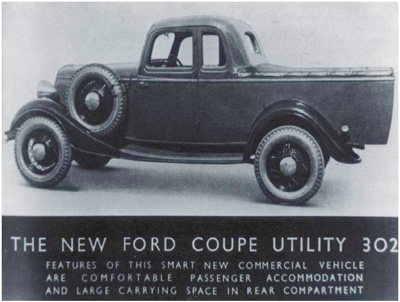 1934 Ford Coupe Utility the first UTE -pix courtesy the good folks at Motor History Australia - Thanks!