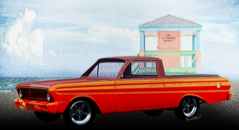 1965 2nd Generation Ford Ranchero Illustrated by VivaChas! - Click the Pix or text link to shop for a print or product!