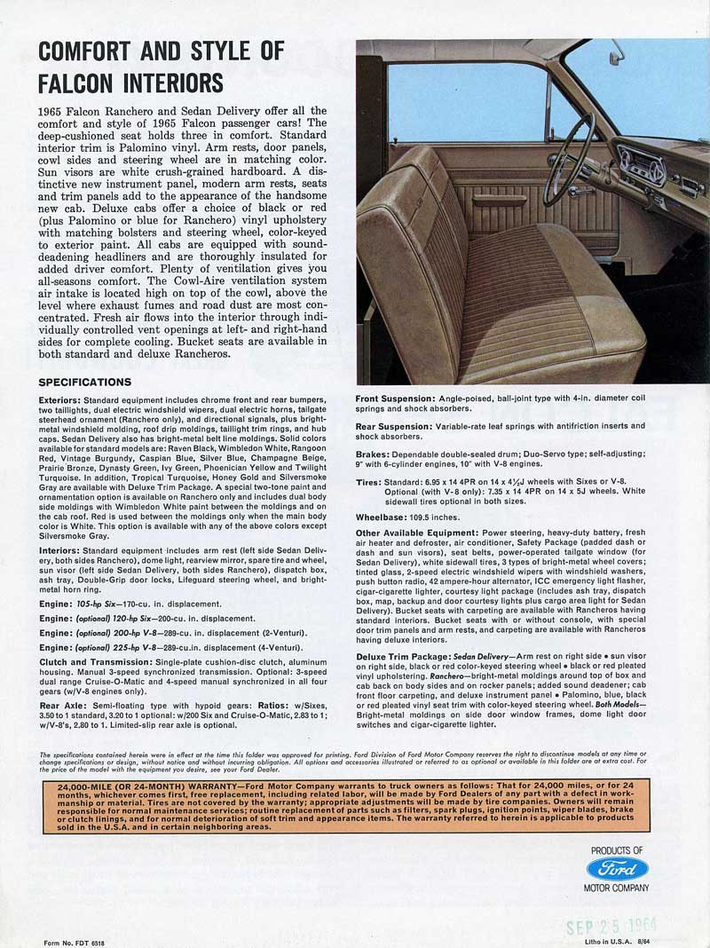 1965 Ford Ranchero Fold-out Brochure last page - from Old Car Brochures - Click pix to see it big!