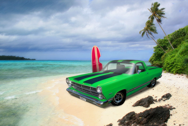 1967 Ford Ranchero at High Tide is a Tribute to the lost surfer! - Click here to shop for this print and stuff with this image on it!