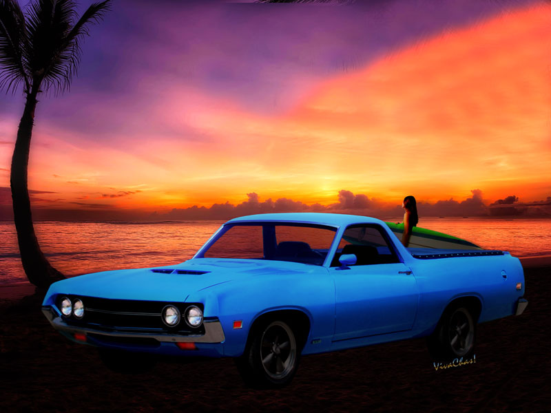 1970 Ranchero Dominican Beach Sunrise automotive art from VivaChas - Click the Pix or text link in the text to Buy a Print or Product!