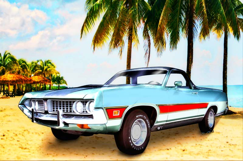 1971 Ford Ranchero at Three Palms is more Automotive Art from VivaChas! - Click the Pix or text link to Buy this Classic Print and other Products featuring this Ranchero