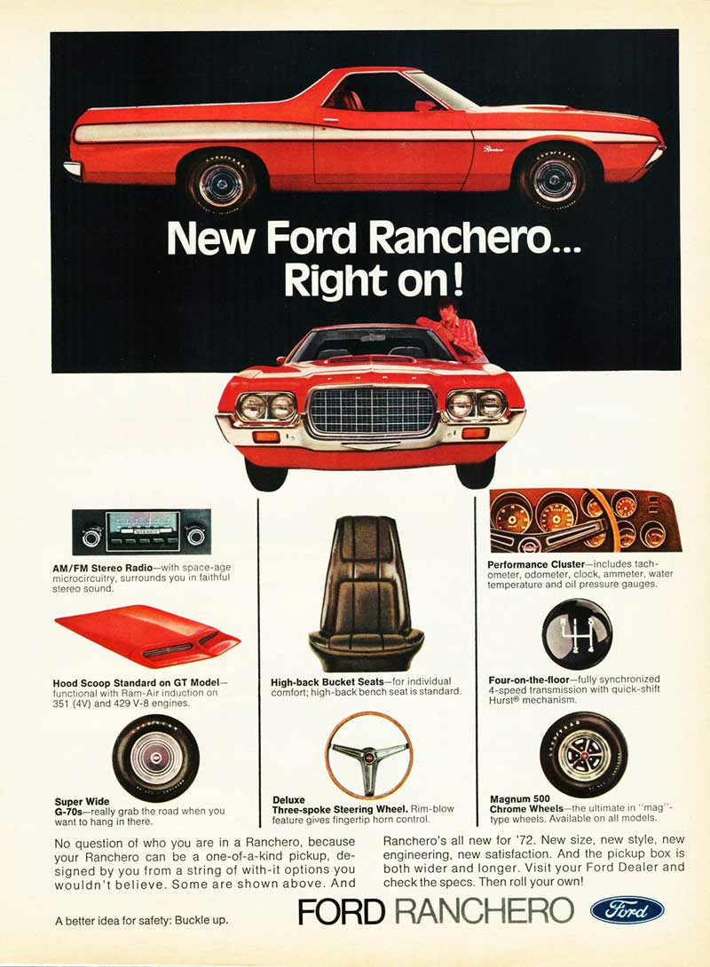 72 Ranchero Ad from the Good Folks at Old Car Advertising! - Thanks OCA!