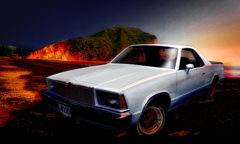 1978 El Camino out onna New Zealand Beach! Sunset Bewdy! - Click the Pix or Text Link to Shop for Print or Stuff featuring this Classic Ride!