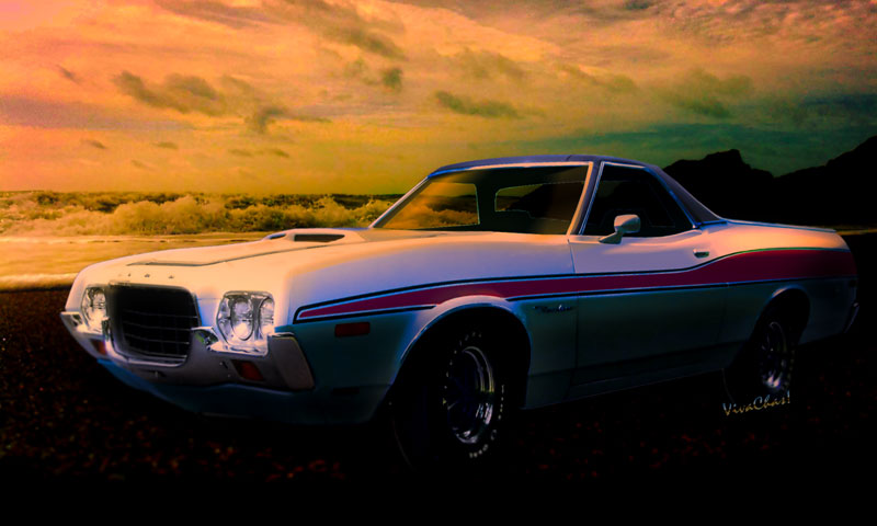 72 Ford Ranchero Automotive Art from VivaChas - Click the pix or text link to shop for prints or product from Chas!