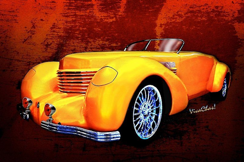 1937 Cord Coffin Nose Speedster on Toast from VivaChas! - Click Pix to Get this Print or other products.